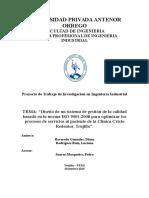 Diseño de Un Sistema de Gestión de La Calidad Basado en La Norma ISO 9001 2008 Para Optimizar Los Procesos de Servicios Al Paciente en La Clinica Cristo Redentor Trujillo