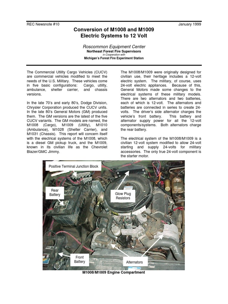 M1009 Electric System Conversion to 12v Article | Manufactured Goods on