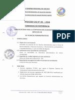 PROCESO CAS No 04 - 2016 TERMINOS DE REFERENCIA CONVOCATORIA
