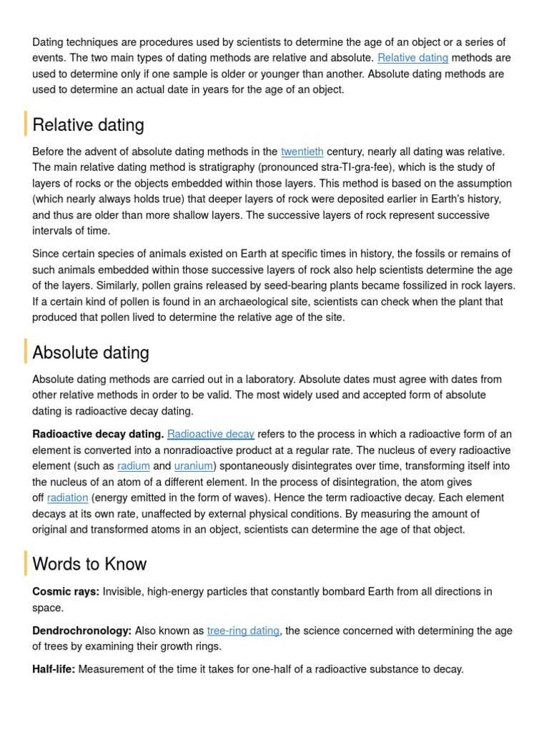 is radioactive dating absolute or relative