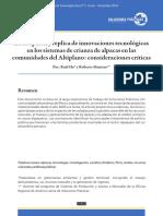 La adopción y replica de innovaciones tecnológicas en los sistemas de crianza de alpacas en las comunidades del Altiplano