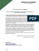 NOTA de PRENSA Nº 016 Proyecto de Ley que beneficia a los consumidores