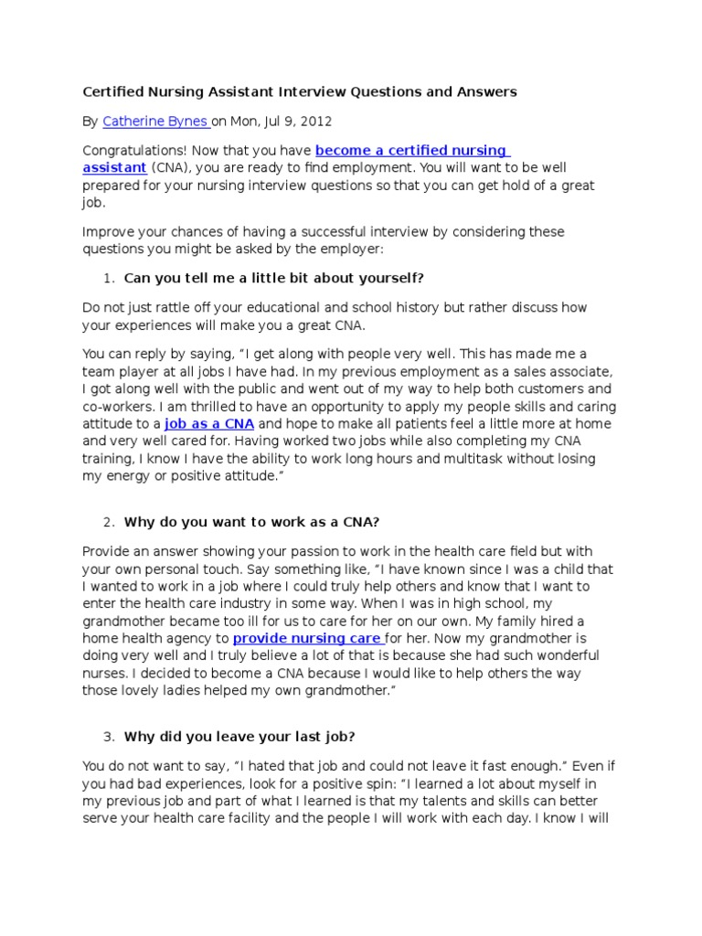 Certified Nursing Assistant Interview Questions And Answers