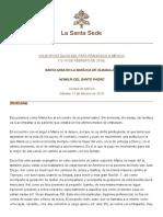 Papa Francesco 20160213 Omelia Messico Guadalupe