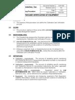 SOP 006 Rev.nc Calibration & Verification of Equipment