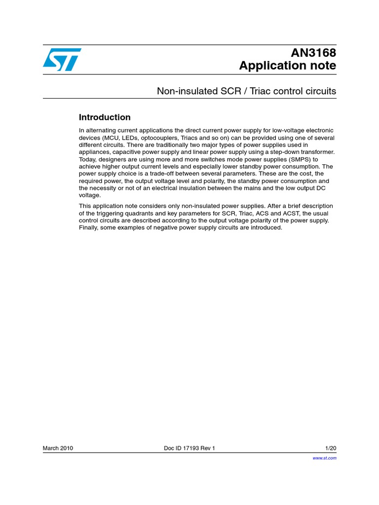 An437 Application Note Power Supply Bipolar Junction Transistor Scr Control Circuits