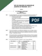 Reglamento de Concurso de Admision 2017