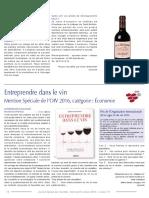 FR JOURNAL SPECIAL DES SOCIETES Entreprendre Dans Le Vin_Mention Spécial de l'OIV 2016