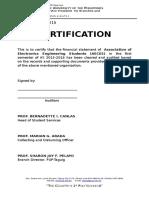Certification (Financial Statement)