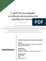El perfil del invesgador y la difusion de la produccion científica en Internet I