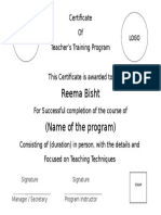 Certificate UPSDM