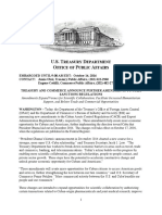 US Treasury Commerce Cuba Fact Sheet