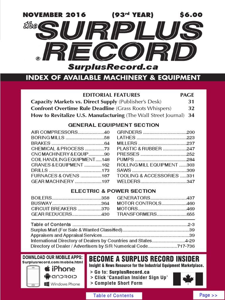 NOVEMBER 2016 Surplus Record Machinery & Equipment Directory
