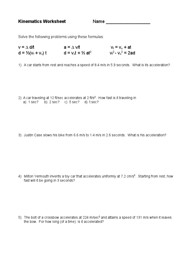 worksheet Kinematics Worksheet kinematics worksheet doc