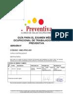 Vmo-pro-001 Guía Para El Examen Médico Ocupacional de Trabajadores de Preventiva