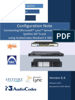 LTRT-39110 AudioCodes E-SBC With Microsoft Lync and Spitfire SIP Trunk Configuration Note