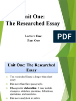 Researched Essay - Part I