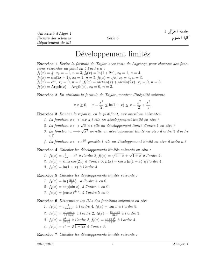 Developpement Limites Asymptote Tangente Geometrie