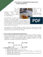 Determinacion de Calcio y Magnesio en Agua Por Complexometria