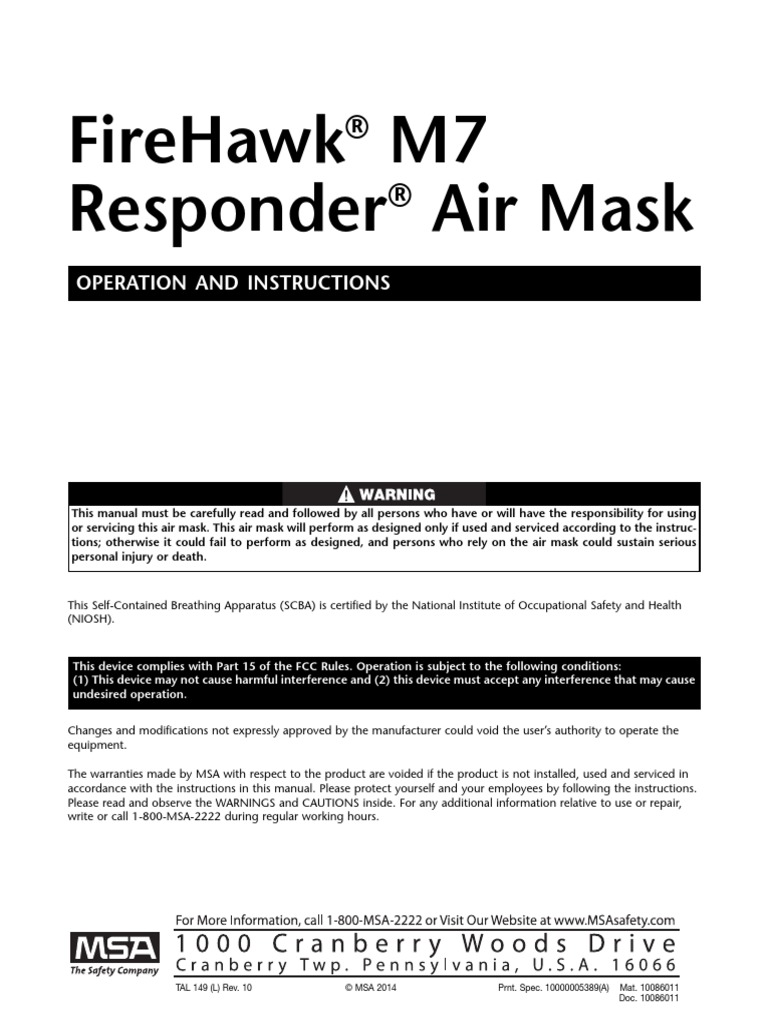 firehawk m7 responder instruction manual en pdf technology nature rh scribd com Drager Self-Contained Breathing Apparatus MSA SCBA
