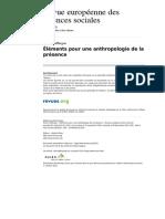 ÉLÉMENTS POUR UNE ANTHROPOLOGIE DE LA PRÉSENCE, Francis Affergan (2015)