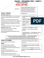 Cambridge English - Speaking Test- Part 2 (Fce)- Typical Questions