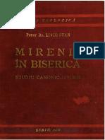 Pr. Liviu Stan - Mirenii în Biserică. Studiu Canonic-Istoric. Sibiu, 1939