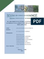 El Crecimiento Económico y Su Incidencia en El Empleo y en La Reduccion de La Pobreza Del Perú