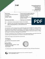 Amendment in Memorandum & Articles of Association [Company Update]