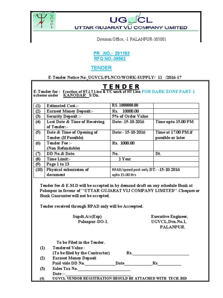Srn 10 Tender Notice 11 2016 17 Kanodar Dz 1pdf Wire Concrete Wiring Earnest Money
