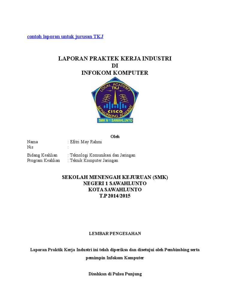 Contoh Laporan Untuk Jurusan Tkj Docx