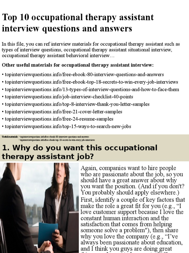 Top 10 Occupational Therapy Assistant Interview Questions And