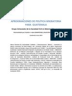 Aproximaciones de Política Pública Migratoria Grupo Articulador