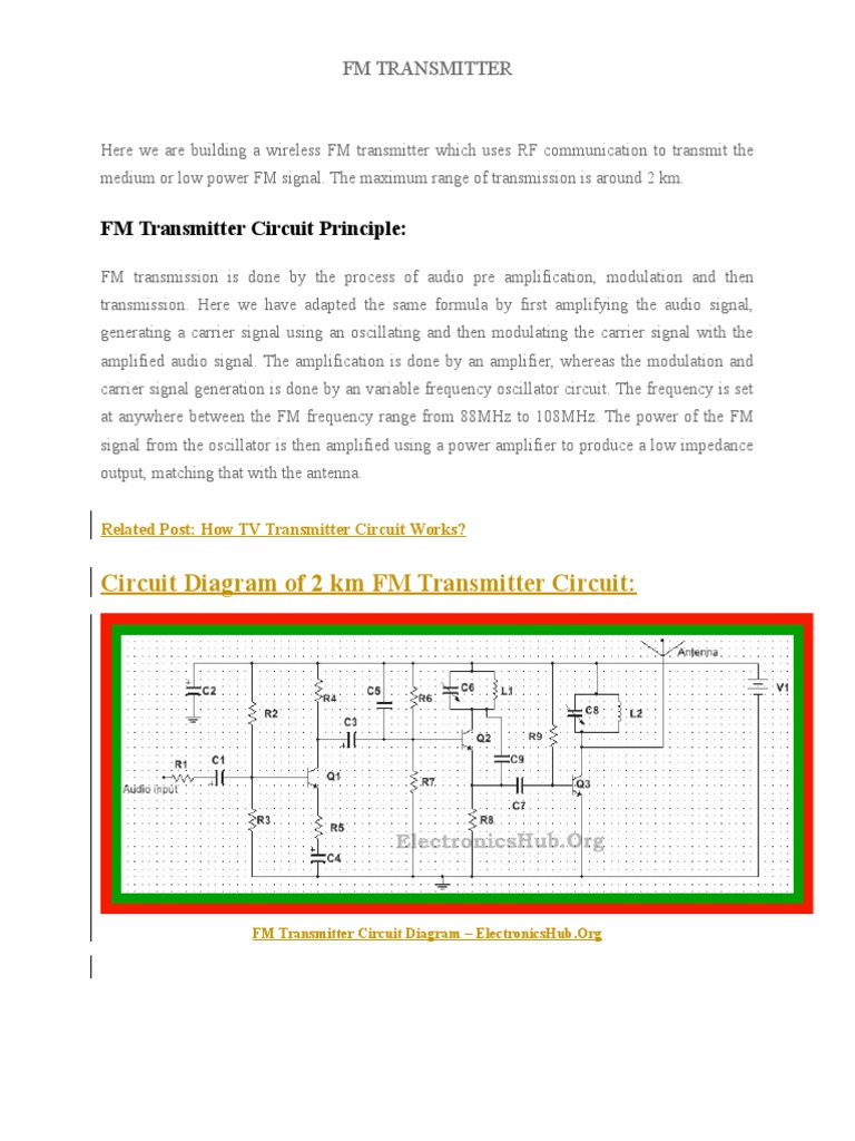 Here We Are Building A Wireless Fm Transmitter Which Uses Rf F M Circuit Diagram Communication To Transmit The Medium Or Low Power Signal Amplifier Electronic Circuits
