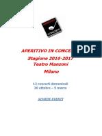 Aperitivo in Concerto 2016-2017 Schede Eventi