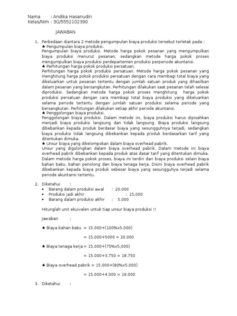 Contoh Soal Dan Jawaban Akuntansi Biaya Unit Ekuivalen Ilmusosial Id