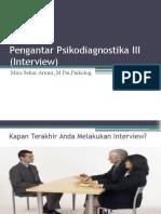 Kuliah 1 - Pengantar Psikodiagnostika III (Interview)