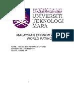 Malaysian Economy and World Rating