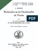 Severyns, Recherches Sur La Chrestomathie de Proclos, Tome 3, La Vita Homeri Et Les Sommaires Du Cycle, Les Belles Lettres 1953
