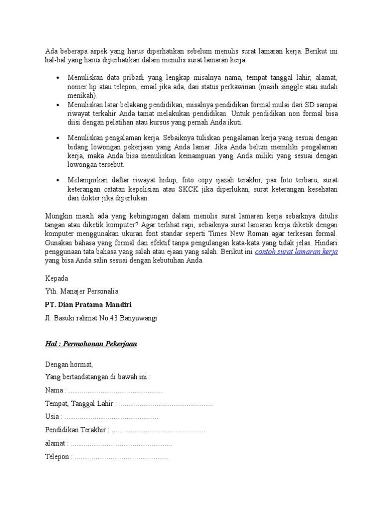 Contoh Surat Lamaran Kerja Non Formal Kumpulan Contoh Gambar