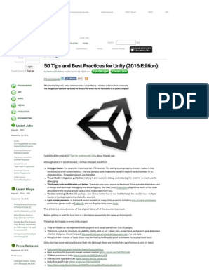 50 Tips and Best Practices for Unity (2016 Edition) pdf