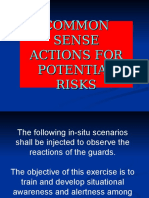 3. Common Sense Actions for Potential Risks