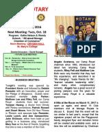 Moraga Rotary Newsletter - Oct 11 2016