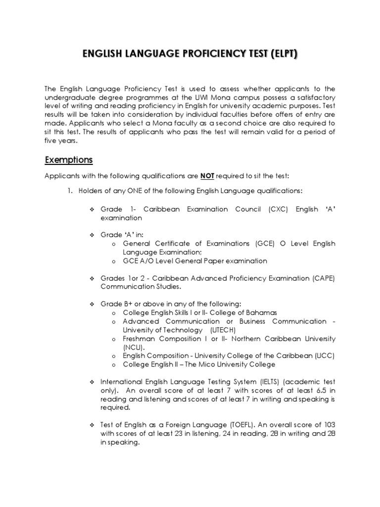 English Language Proficiency Test Uwi International English