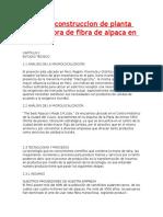 Proyecto Construccion de Planta Procesadora de Fibra de Alpaca en Espinar