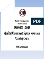 ISO 9001 2008 Awareness Training Cover Template