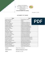SPG Travel Order