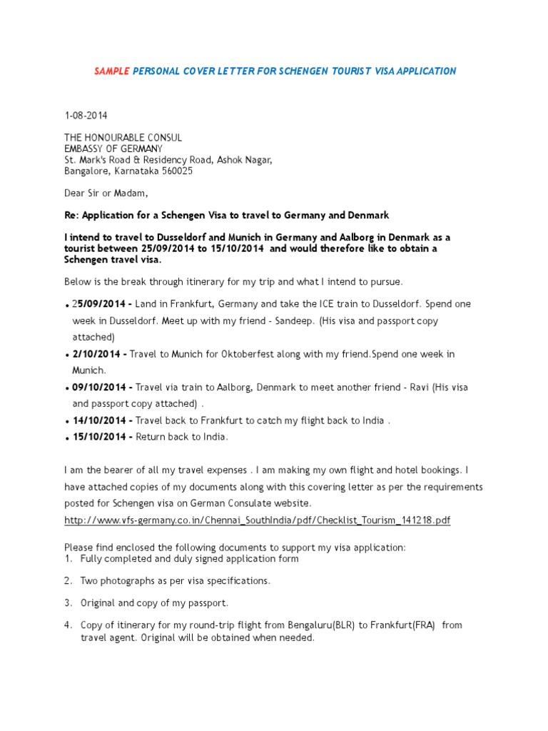 Personal Cover Letter Schengen Visa Immigration Law Official Documents
