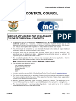 Licence Application for Wholesaler to Export South Africa