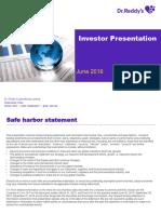 Dr Reddys Investor Presentation June 2016